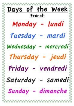 all the days of week days of the week poster and by classroom