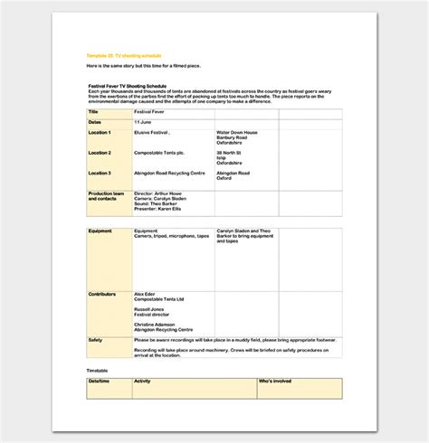 Production Schedule Template 8 For Pdf Word Doc Excel Tv Show Production Schedule Template
