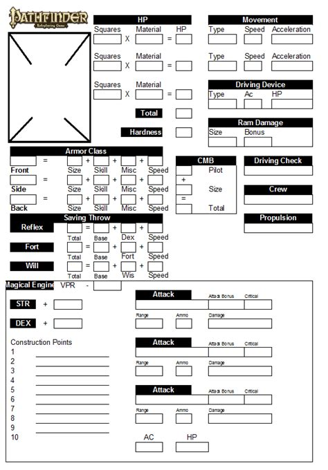pathfinder templates vehicle sheet caffeinator s pathfinder houserules
