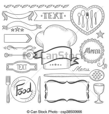 cornici per menu ristorante cornici set menu nastri ristorante vettore