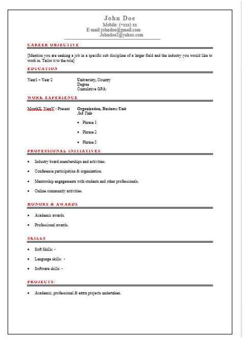 Professional Resume Template Concise Simple Concise Resume Template