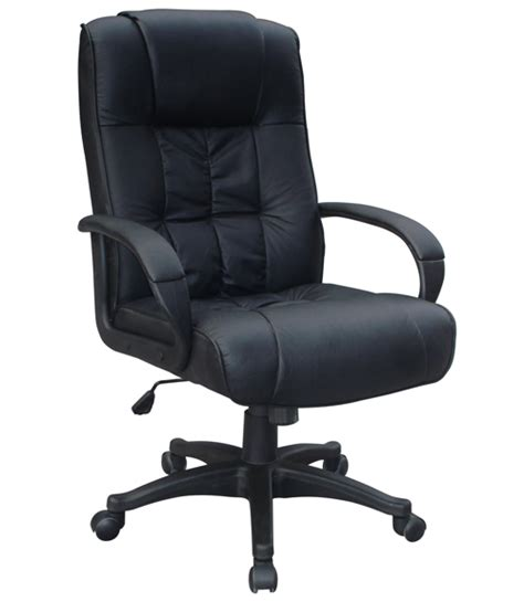 Black Leather Office Chair by Padded Black Leather Office Chair Luxury High Back New Ebay
