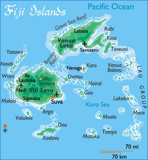 fiji islands map passin time in fiji