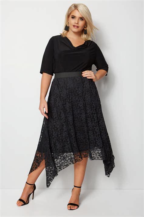 Hanky Hem Skirt black lace hanky hem skirt plus size 16 to 32