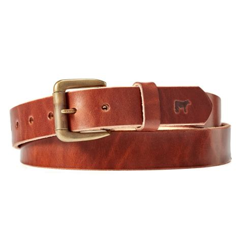will leather goods classic saddle leather belt with brass