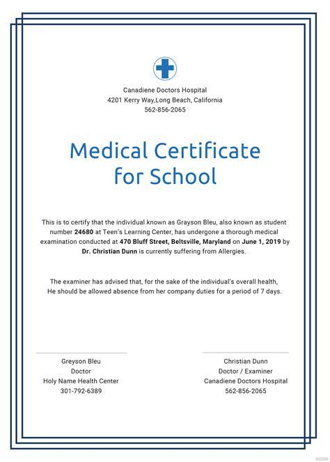 medical certificate  school template  psd ms
