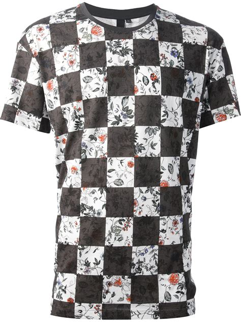 T Shirt Armour Black Check White lyst mcq checkered print tshirt in white for