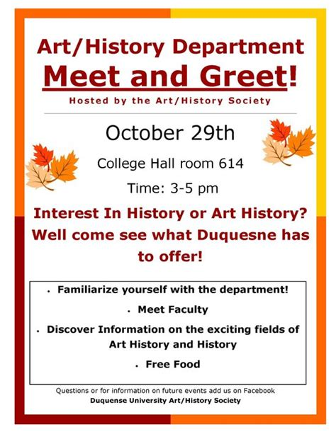 meet and greet flyers templates duquesne department of history history society meet n greet 10 29