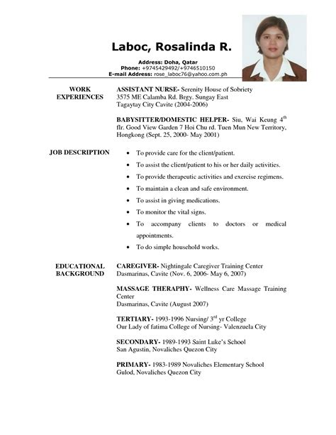 caregiver sle resume resume ideas