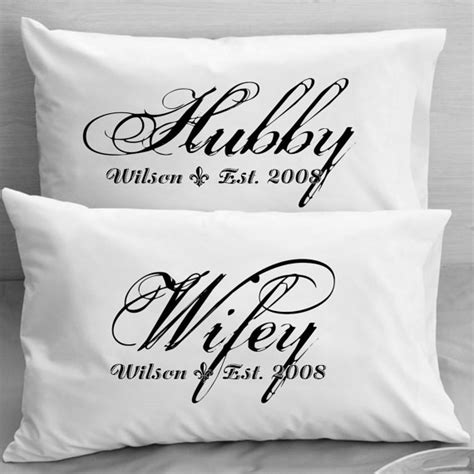 gifts for wife couples pillow cases custom personalized wifey hubby wife