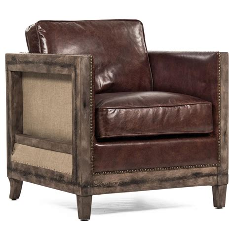 rustic leather armchair beck industrial rustic lodge masculine square frame brown