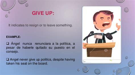 verb pattern give up phrasal verbs