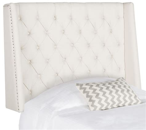 london light grey tufted winged headboard flat nail