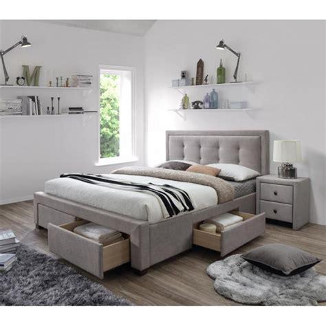 tete de lit tiroir lit 160x200 beige avec sommier et tiroirs de rangement