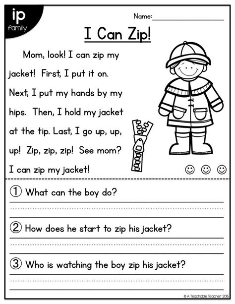 Reading Worksheets For 1st Graders by Vowel Reading Comprehension Passages For