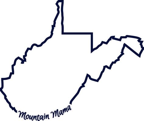 West Virginia State Outline Vector by Wv West Virginia Mountain State Outline Svg Instant