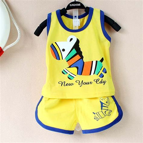 cute pattern clothes 2017 new summer baby clothing set cotton cute pattern vest