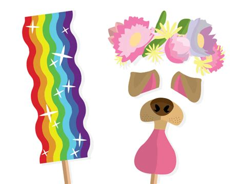rainbow photo booth props printable free photobooth printables tasteful tatters
