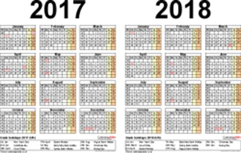 two year calendars for 2017 & 2018 (uk) for excel