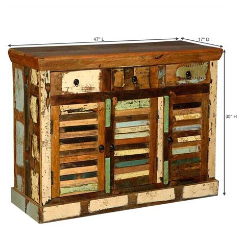 Wood Sideboard by Ordway Rustic Reclaimed Wood 3 Door 3 Drawer Sideboard Cabinet