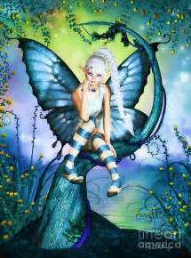 Glitter Shower Curtains Blue Butterfly Fairy In A Tree Digital Art By Alicia Hollinger