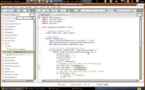 membuat jam digital di java netbeans java programming membuat jam digital dengan java