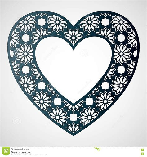 Openwork Heart With Floral Pattern Vector Frame Laser Cutting Stock Vector Image 78280803 Laser Cut Photo Frame Template