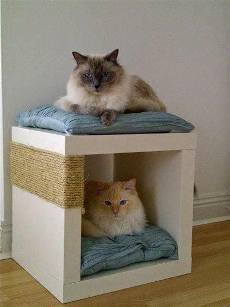 cat cube bed expedit double decker cat snug scratch post ikea hackers