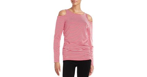 Selendang Michael Kors Original Mk Stripes Scarf Pink lyst michael michael kors cold shoulder striped top in