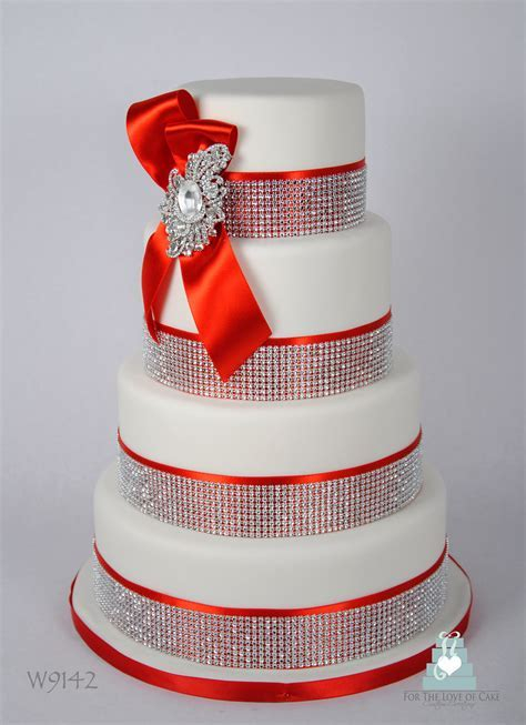W9142 red white crystal bling wedding cake toronto   Flickr