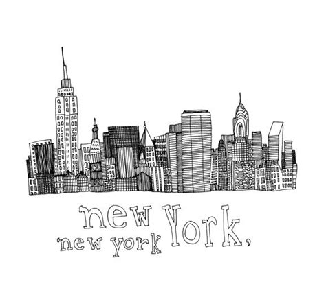 new york drawings items similar to new york new york 5x5 print of original pen and ink drawing on etsy