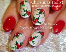 Nail art tutorial diy easy christmas nails elegant xmas holly nail