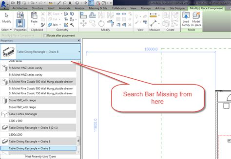 type in search bar in type selector is missing in revit 2015