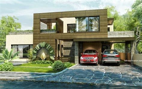 3d front elevation com beautiful contemporary house 3d front elevation com beautiful modern style house