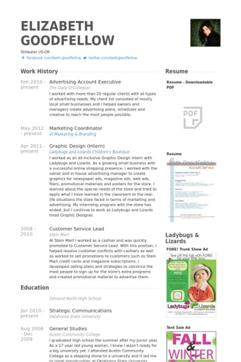 Resume For Advertising Account Executive by Advertising Account Executive Resume Sles Visualcv