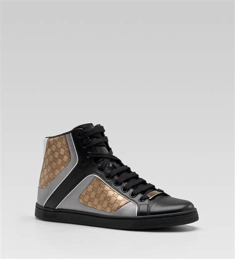 Sneaker High gucci coda pop high top sneaker in black and silver color leather sneaker cabinet