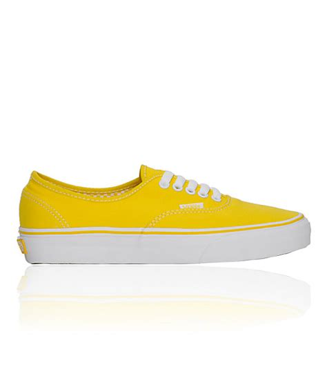 vans authentic true yellow white shoes womens at