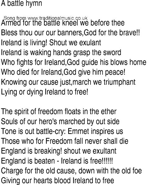 lyrics free song and ballad lyrics for battle hymn