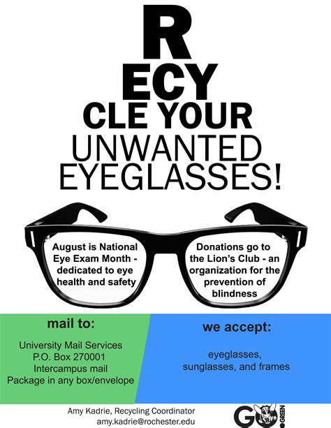 new eyeglasses recycling pilot program at ur the green
