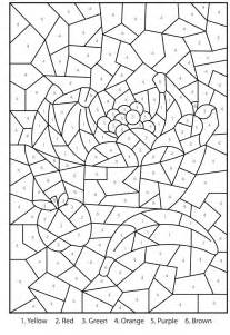 cool color by number coloring pages free printable bowl of fruit colour by numbers activity