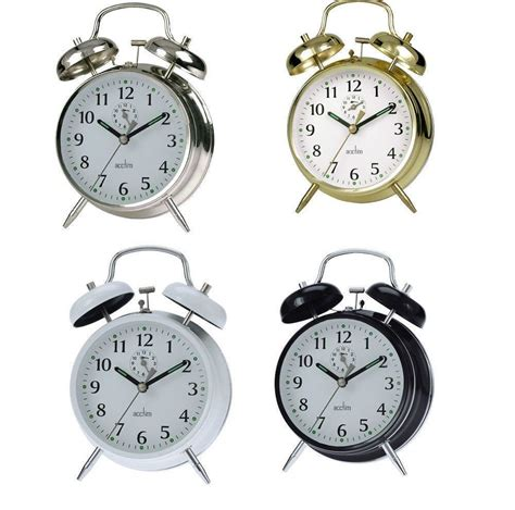 acctim saxon bell wind up alarm clock traditional bedside keywound loud ebay