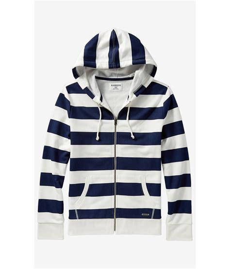 Flanel Hoody Navy White Strips express striped fleece zip hoodie in blue for lyst