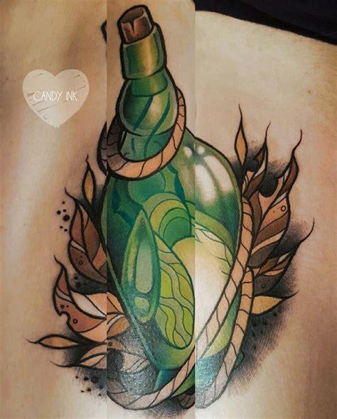 Neo Bottle neo traditional bottle firefly tattoos