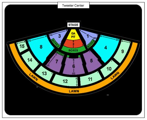 tweeter center seating chart comcast center tickets in mansfield ma comcast center