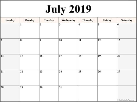 blank july  calendar template  printable editable