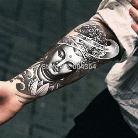 black buddha face in om tattoo design