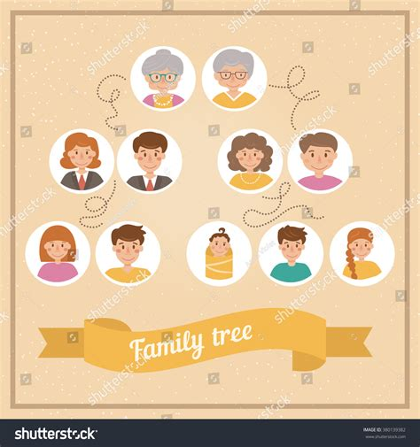 Family Tree Vector Isolated Illustration Genealogical Stock Vector 380139382 Shutterstock Family Tree Stock Vector Illustration