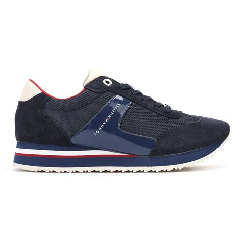 tommy hilfiger womens trainers navy blue  runner