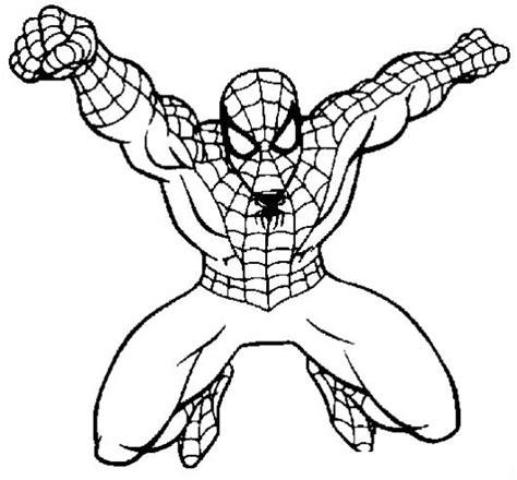 dibujos para pintar hombre araña dibujo de spiderman volando para pintar y colorear al