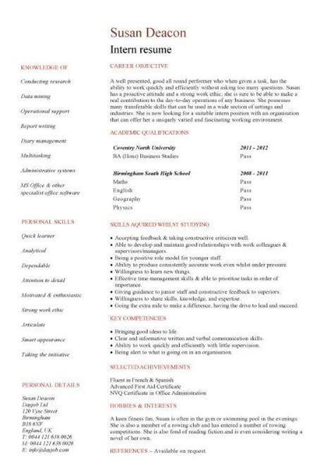 Resume Samples For Internships For College Students by Student Resume Examples Graduates Format Templates